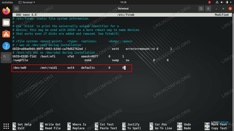 Adding the RAID mount to fstab file