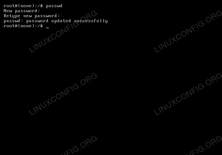The root password has been updated successfully by using the passwd command