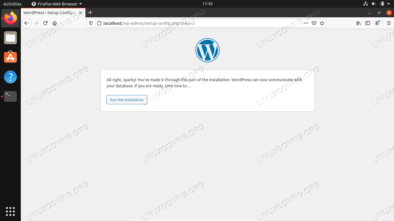 WordPress has successfully connected to our MySQL database