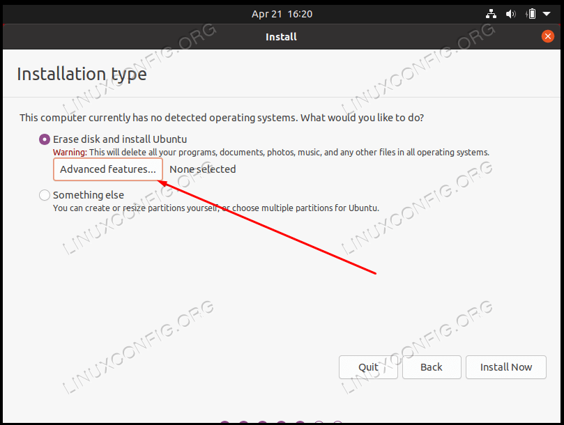 Select the advanced features menu to configure encryption