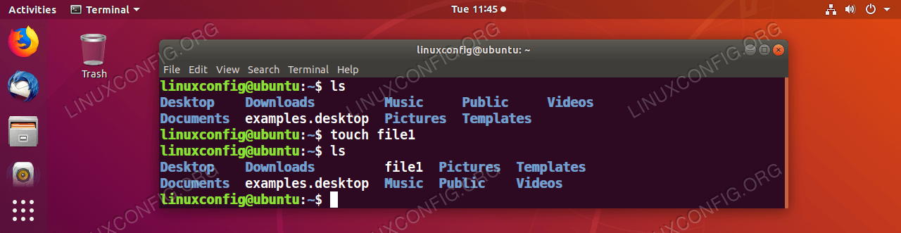 Create file by using the GNU/Linux command touch