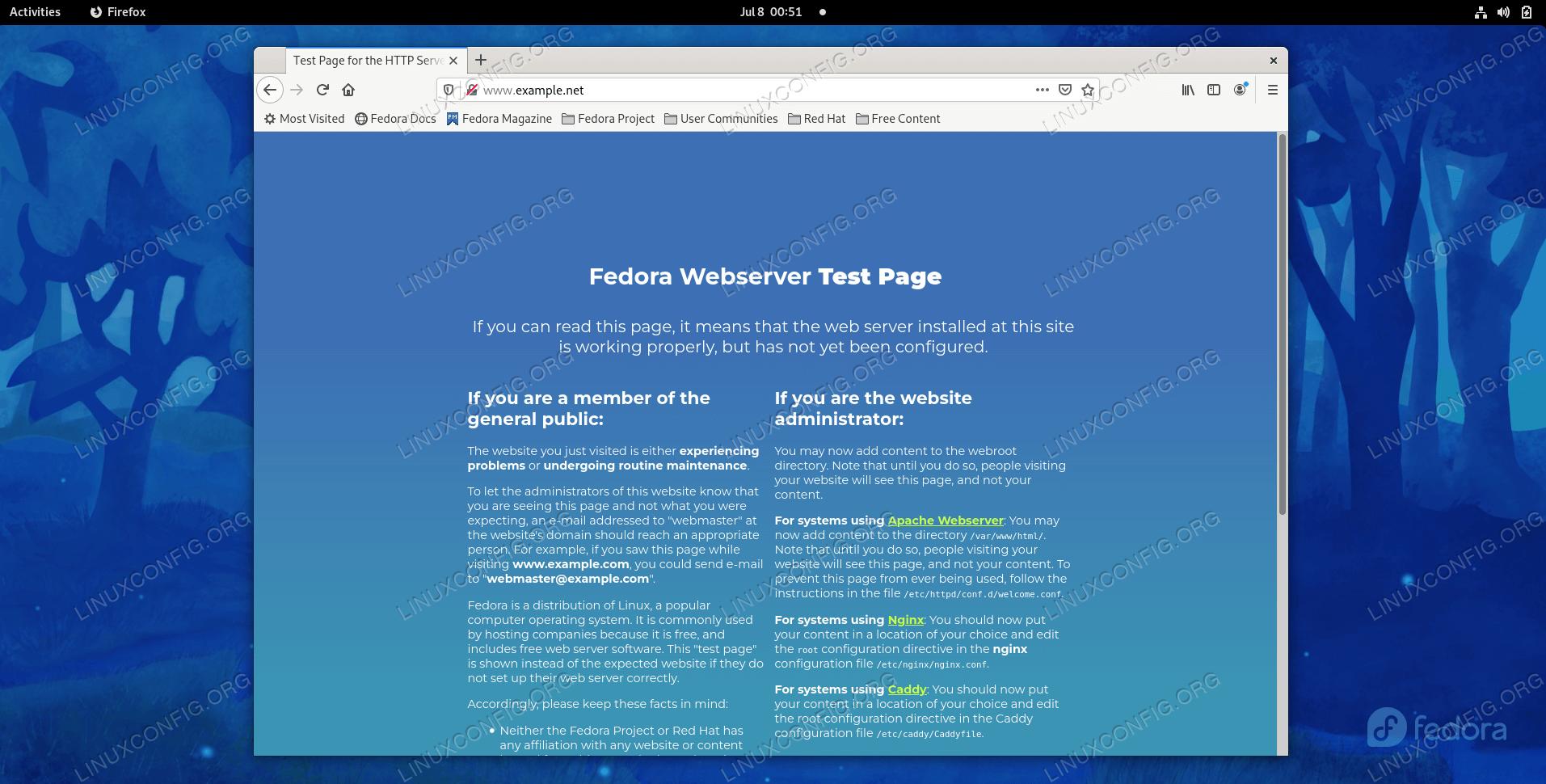 Configuring Apache virtual hosts on Fedora
