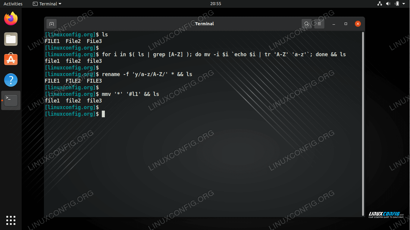 Using the mv, rename, and mmv commands to rename files between uppercase and lowercase on Linux
