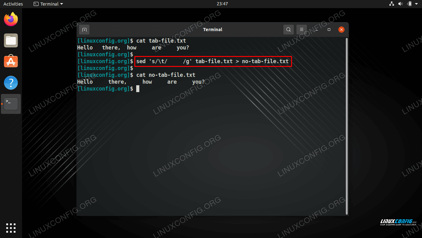 Replacing all tab characters with spaces on Linux