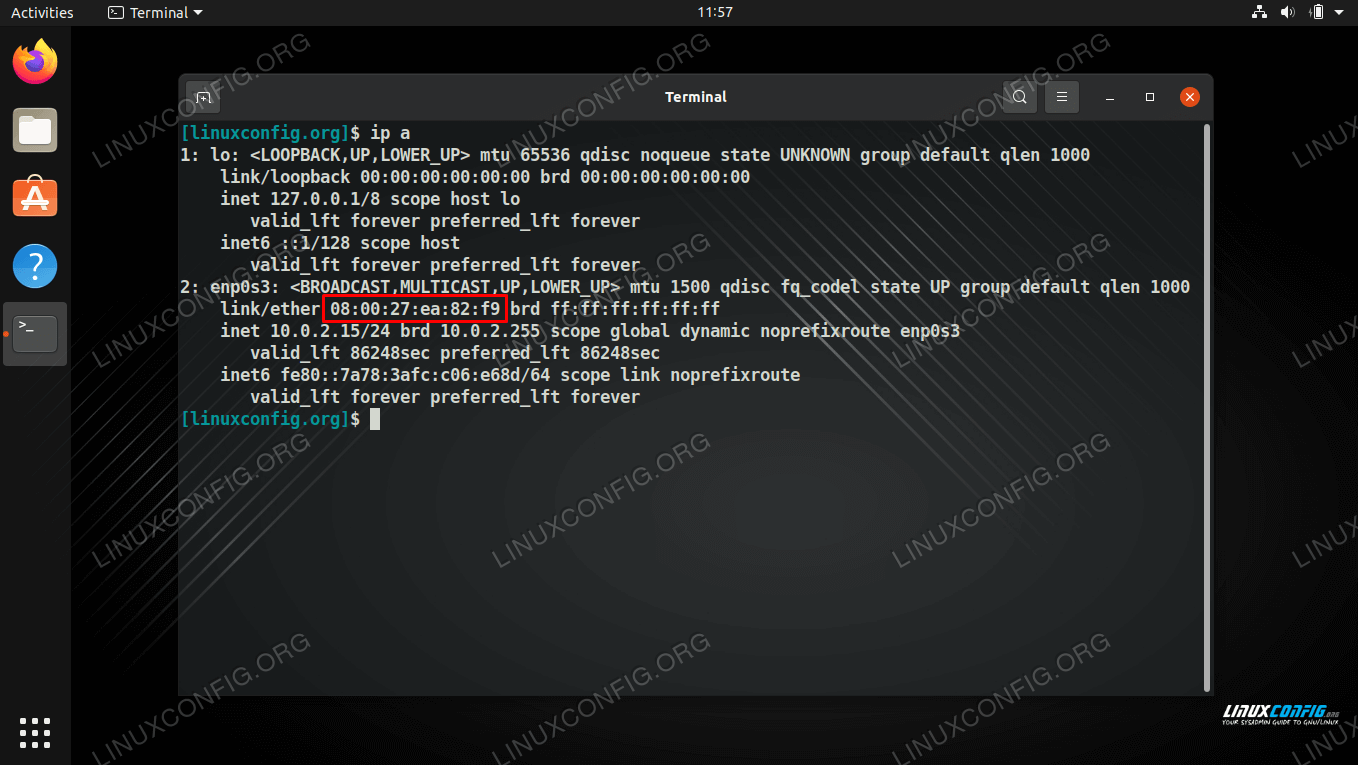 ip a command shows the current MAC address