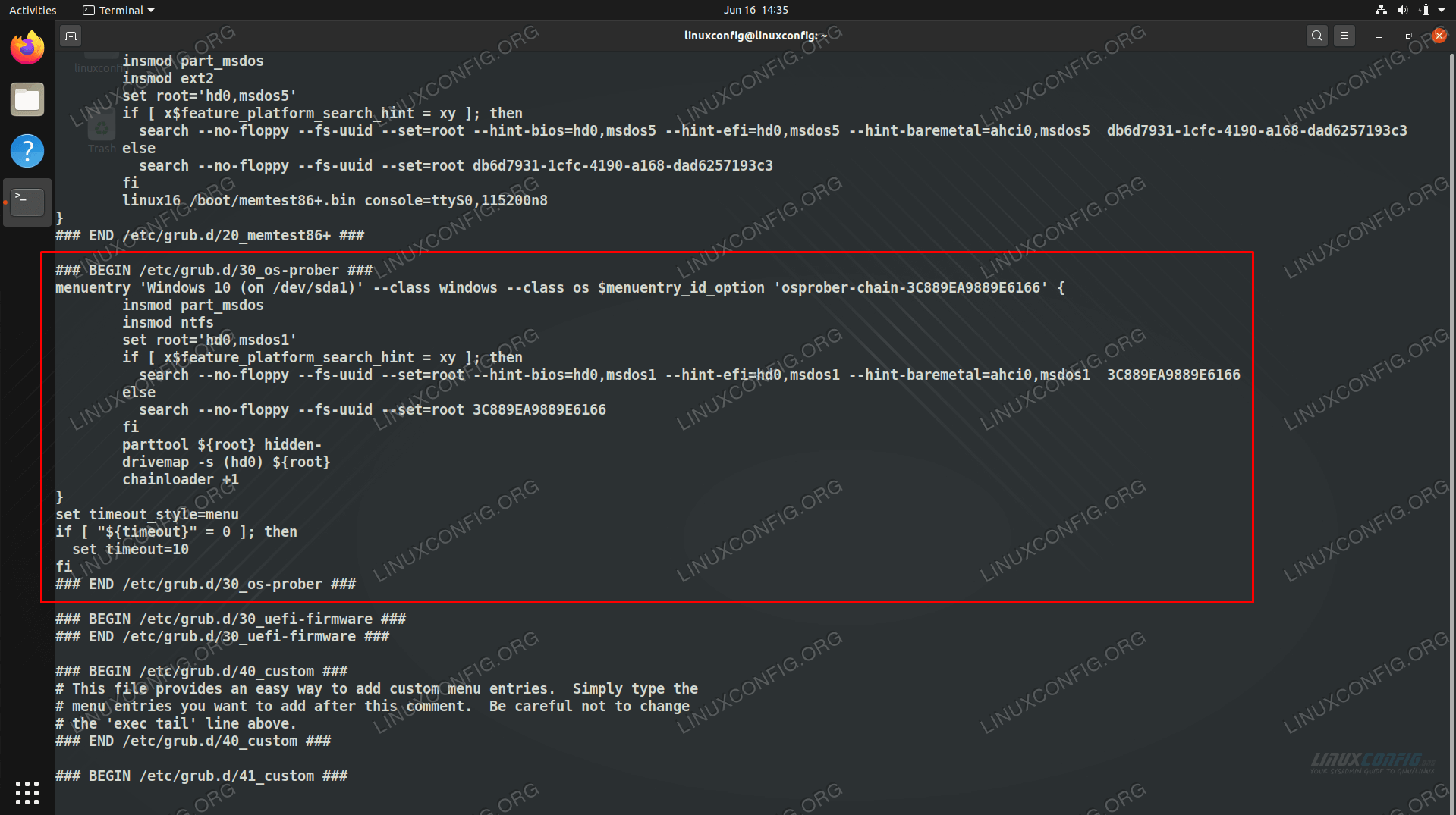 Windows 10 listed in the grub.cfg file