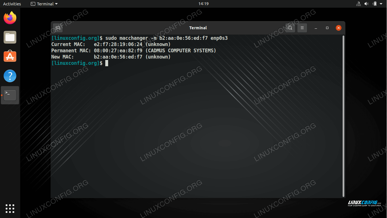 Changing the MAC address to a specific value