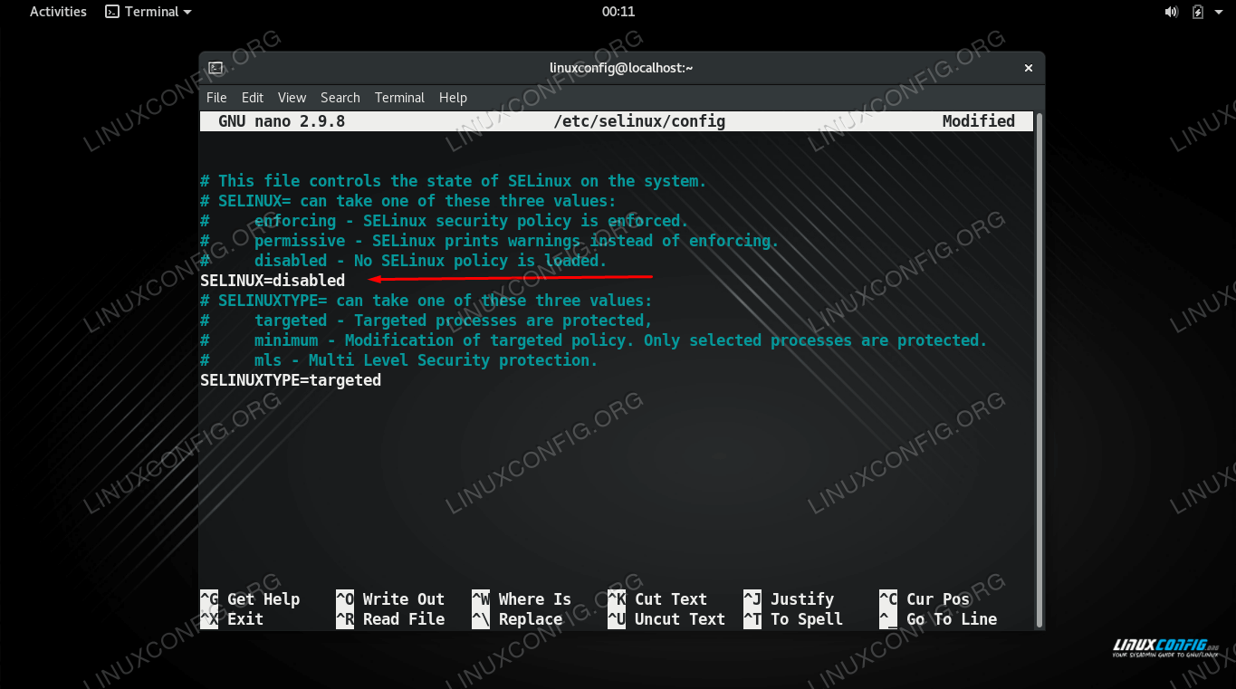 Set the SELINUX directive to disabled to permanently disable it