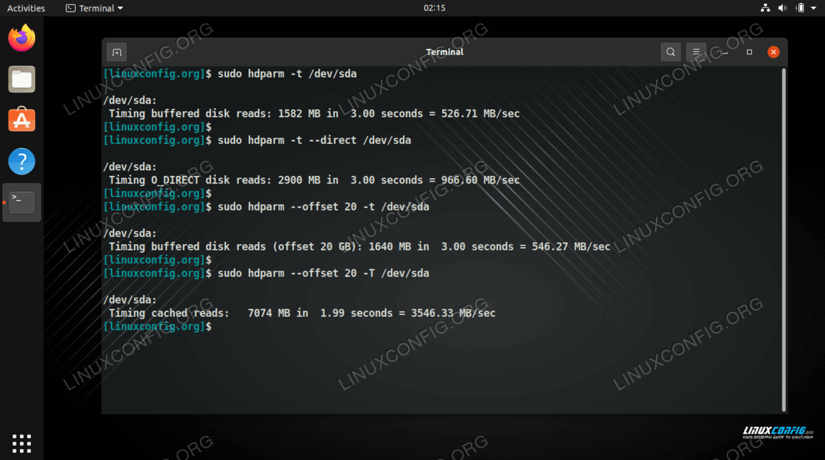 Using various hdparm commands to measure the speed of a hard drive in Linux