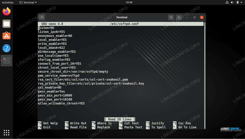 vsftpd configuration file