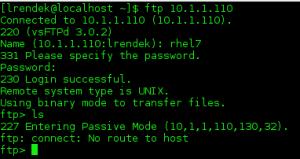 ftp server error client rhel7 ftp: connect: No route to host