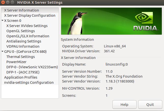 NVIDIA configuration menu