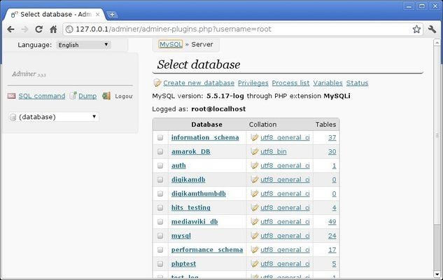Adminer list of databases