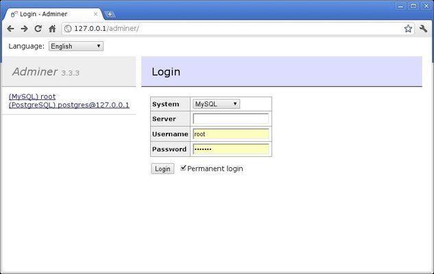 Default Adminer Login Screen