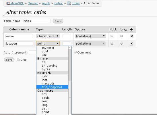 PostgreSQL various data types