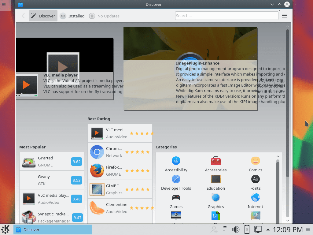 KDE Discover's opening screen