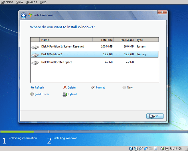 Windows 7 partitioning