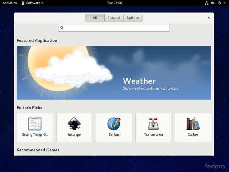 GNOME Software on Fedora 24