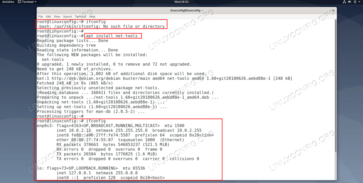 Installing and using the ifconfig command on Debian
