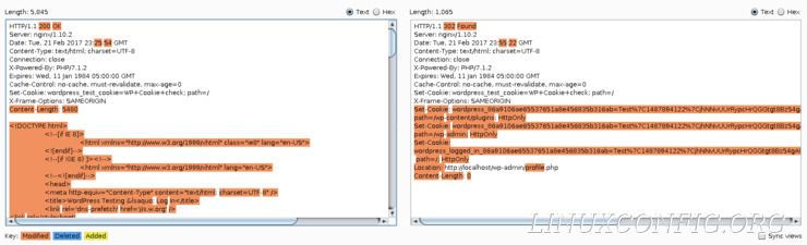 The Comparer tool on Burp Suite