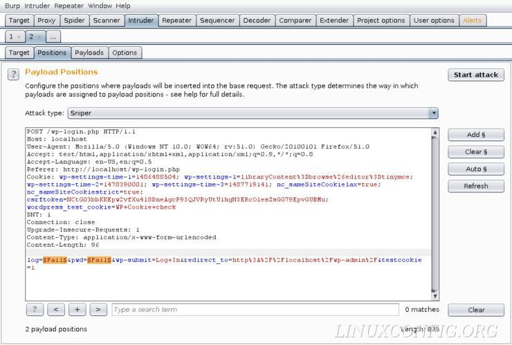 The Positions tab of the Intruder tool on Burp Suite