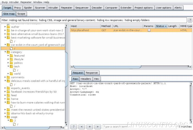 The Target tool on Burp Suite