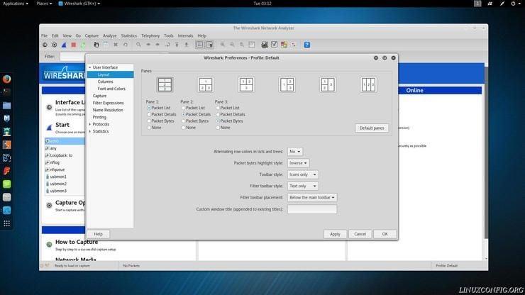 Wireshark's layout configuration