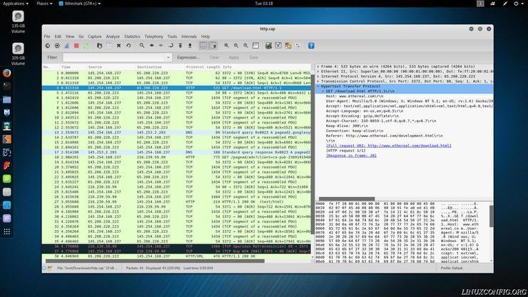 Wireshark listing HTTP packet info