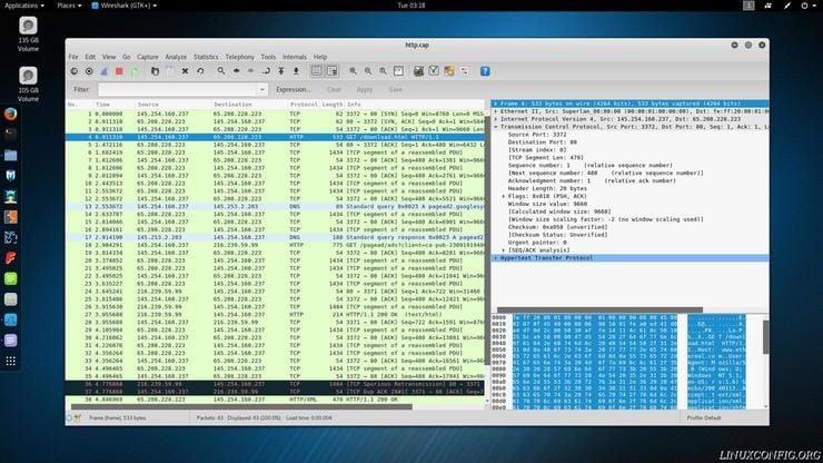 Wireshark listing TCP packet info