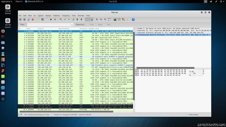 Wireshark listing packet information