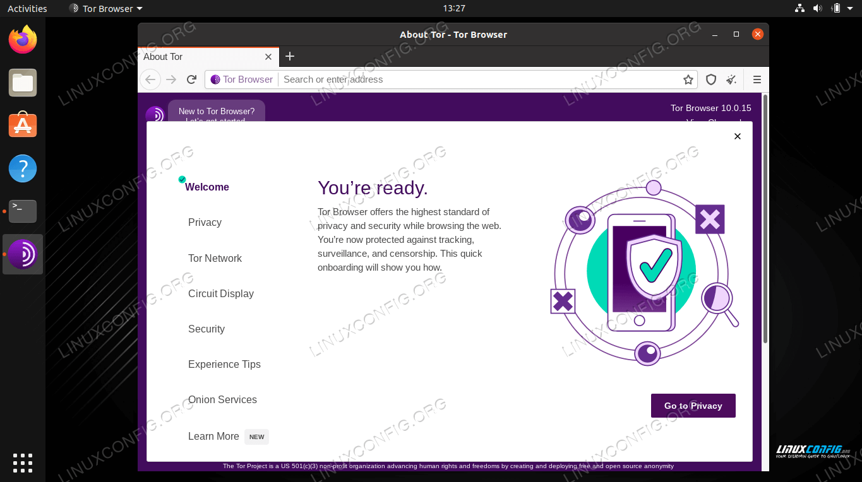 Tor welcome menus
