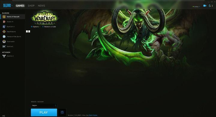 Battle.net Launcher With WoW Installed