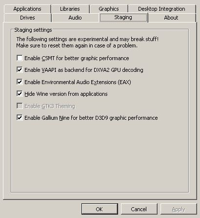 Winecfg Staging Settings