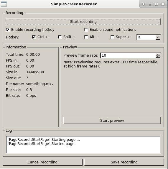 SimpleScreenRecorder Start Recording