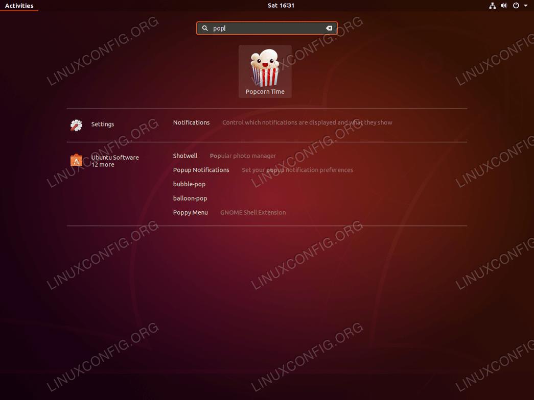 ubuntu 18.04 linux popcorn time start app
