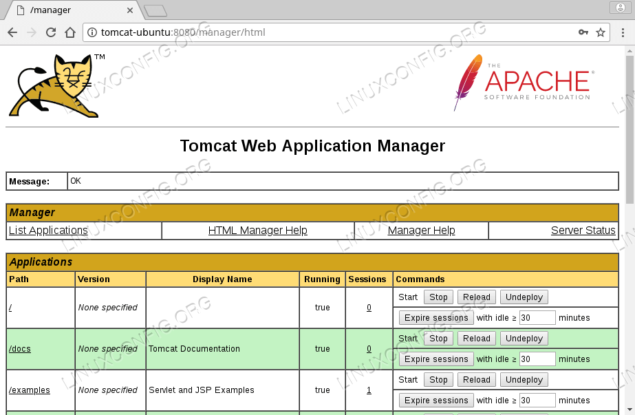 Tomcat Web Application Manager Interface