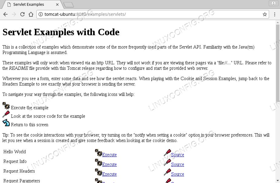 Tomcat 8 Examples on Ubuntu 18.04