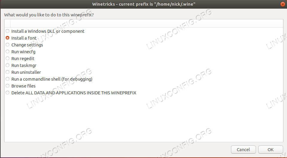 Winetricks Select Option