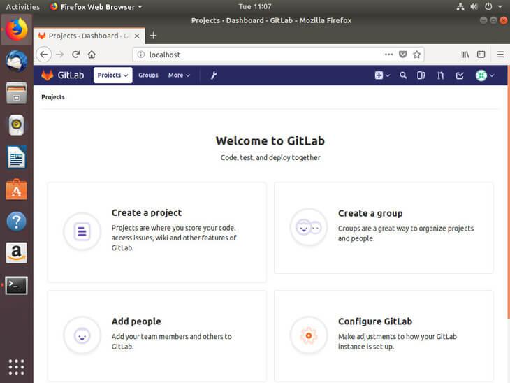 Ubuntu Bionic Gitlab Welcome Screen