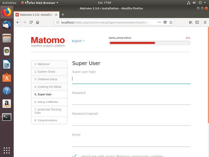 Ubuntu Bionic Create Matomo Superuser