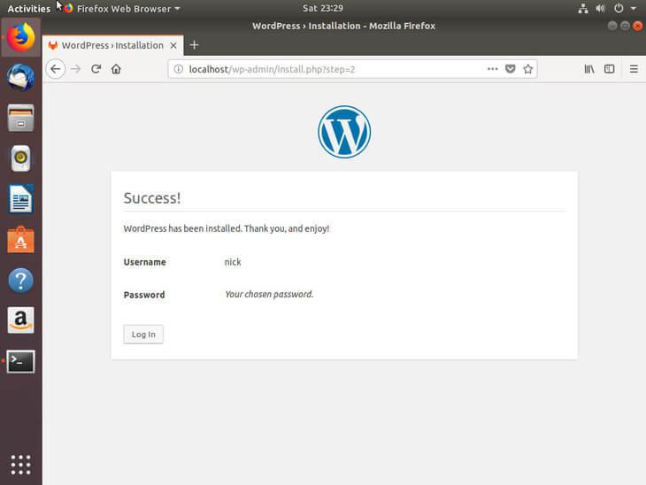 Ubuntu Bionic WordPress Installed Successfully
