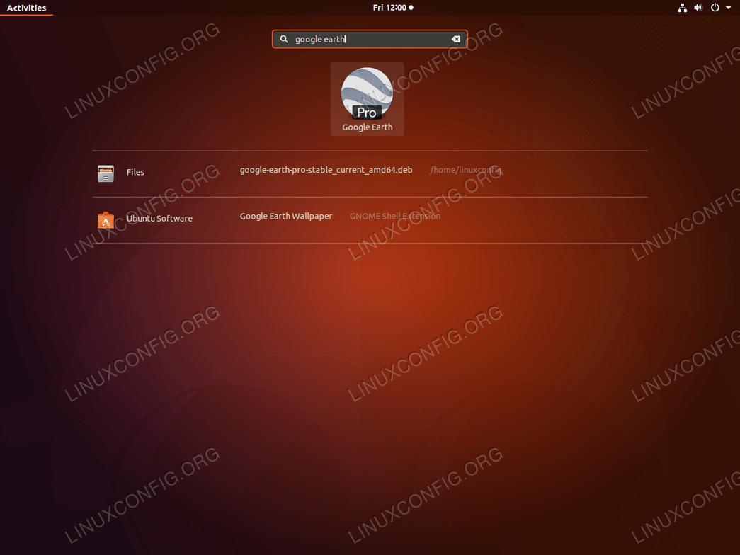Google Earth - Ubuntu 18.04 - Start
