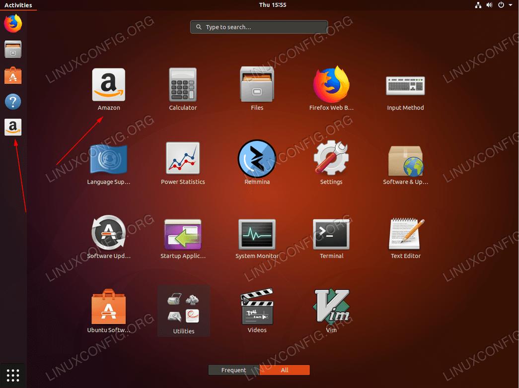 Amazon Launcher icon on Ubuntu 18.04 GNOME desktop