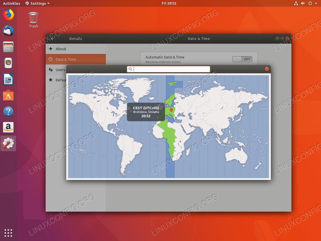 Select timezone - Ubuntu 18:04