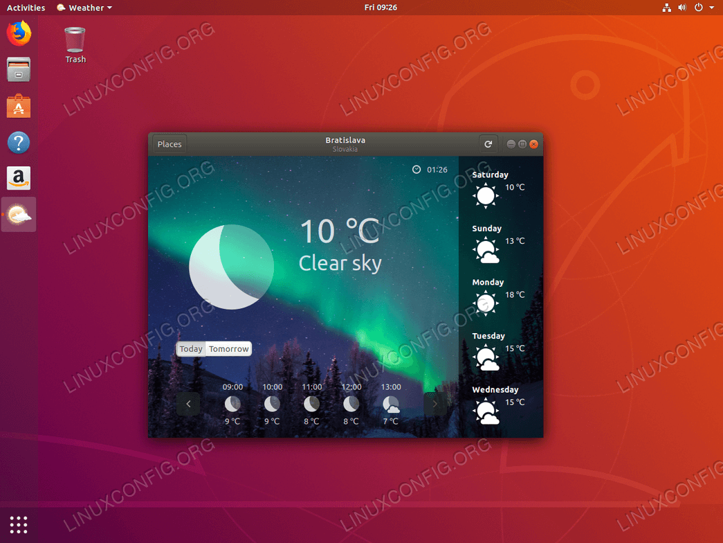 Gnome Weather on Ubuntu 18.04