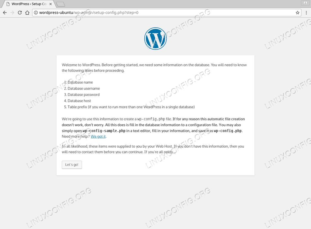 WordPress Ubuntu 18.04 - Installation Summary