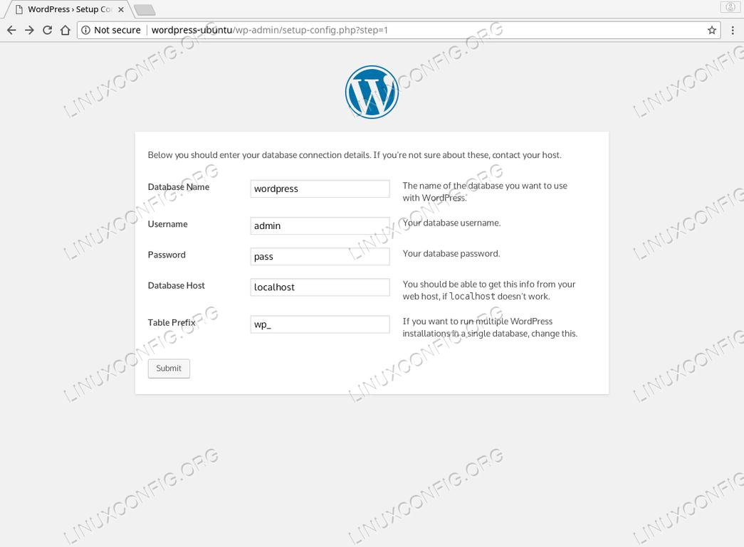 WordPress Ubuntu 18.04 - Database Connection
