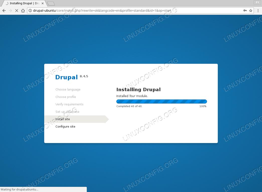 Install Drupal Ubuntu 18.04 - Installation in progress