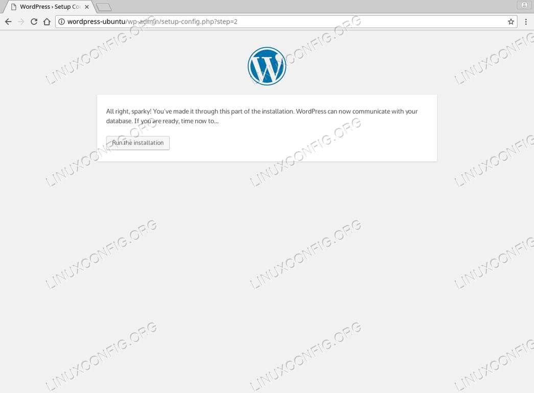 WordPress Ubuntu 18.04 - Continue with Installation