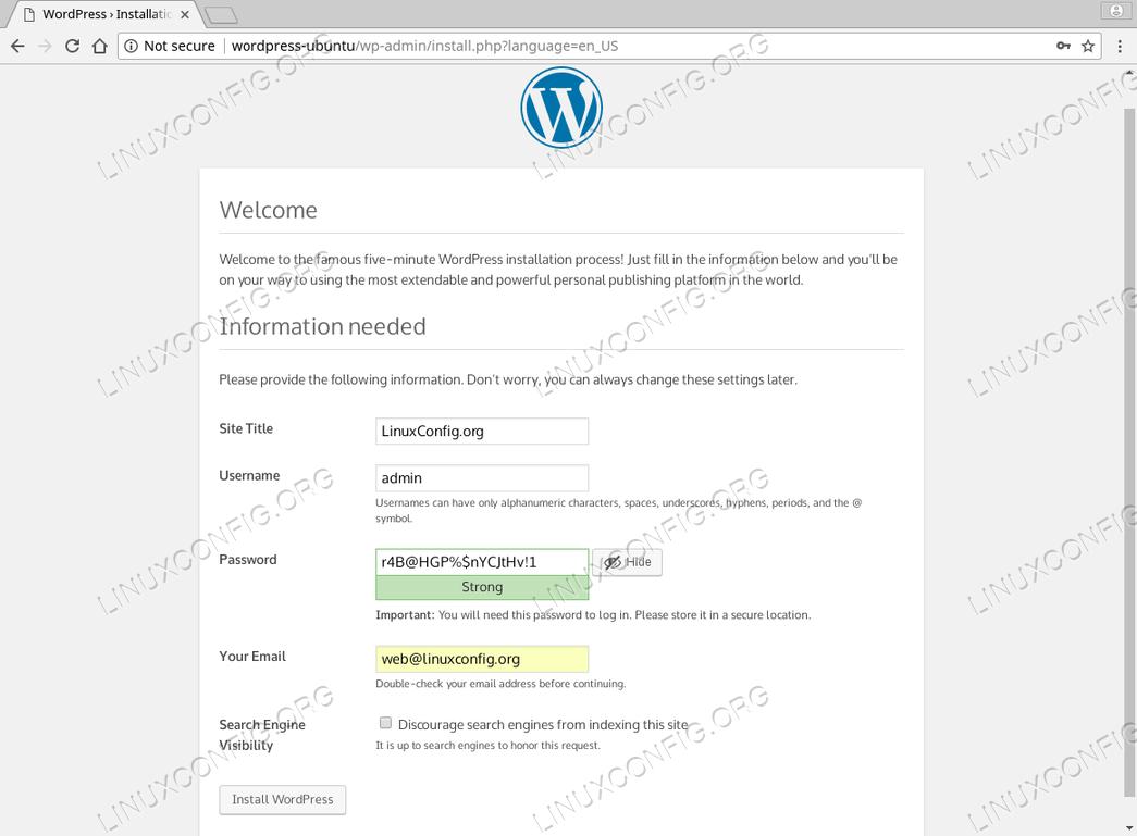WordPress Ubuntu 18.04 - Create a new user account
